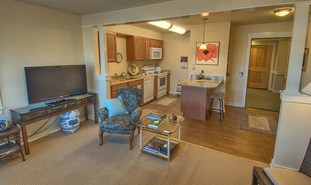 Apartment interior At Chandler's Square Retirement Community in Anacortes.
