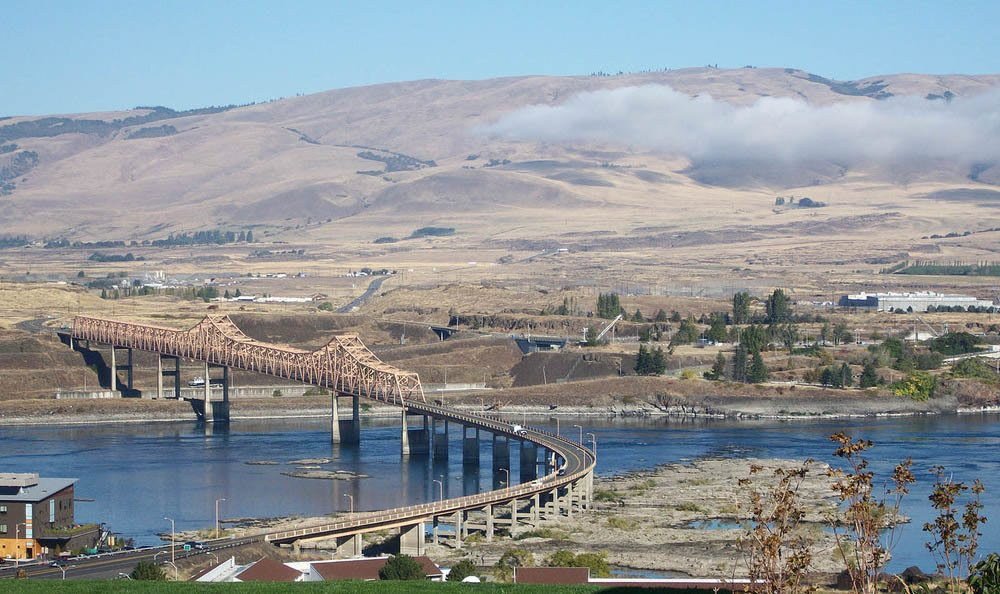 Columbia River View from Flagstone Senior Living in The Dalles.
