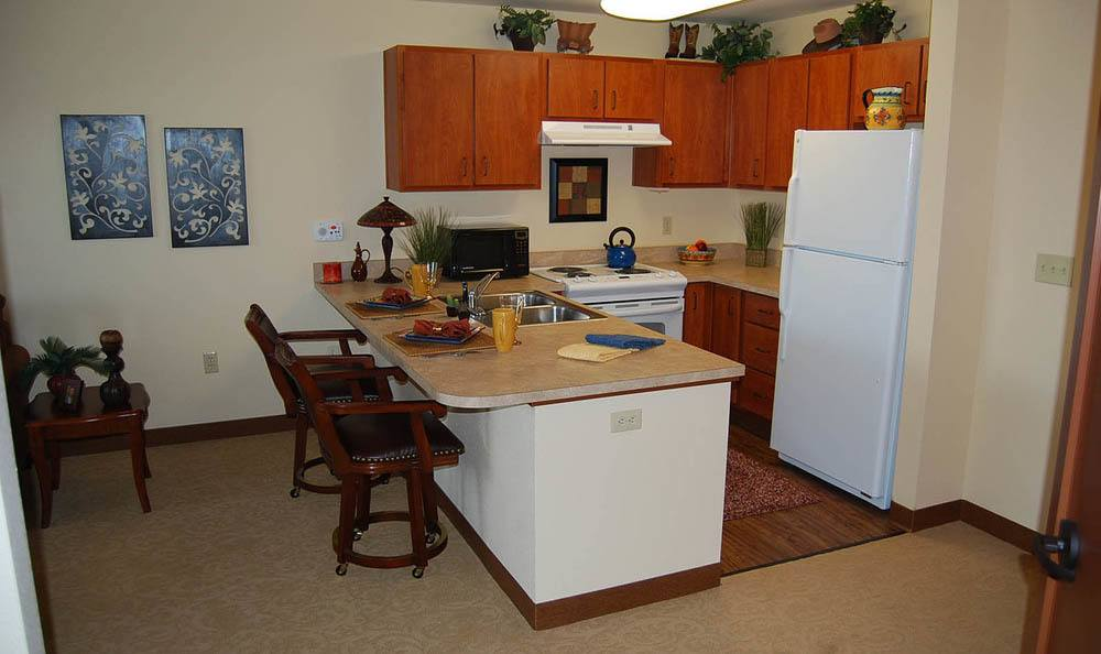 Apartment Kitchen at Flagstone Senior Living