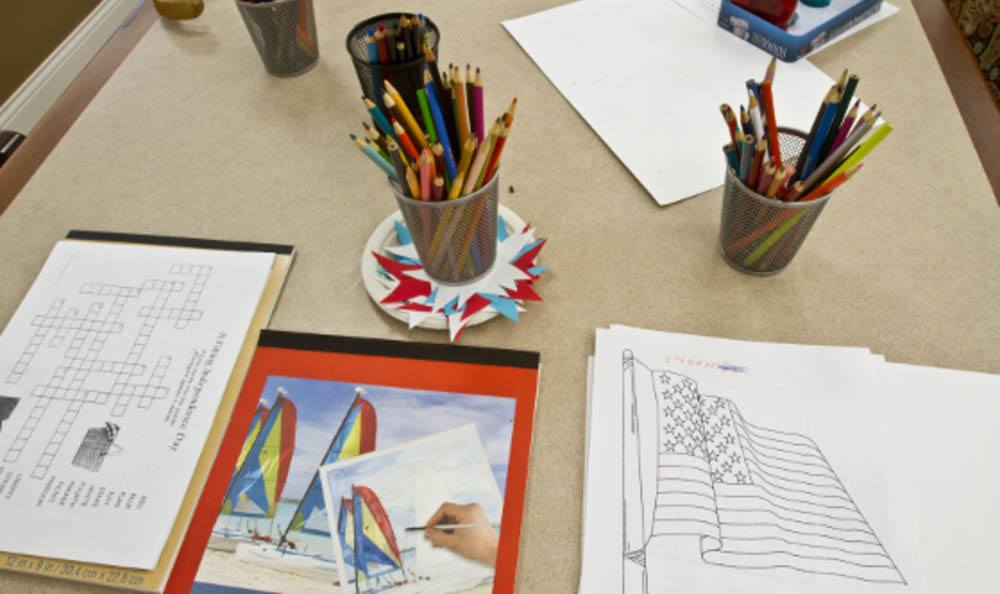 Drawing and Activities at Senior-Living in Anacortes
