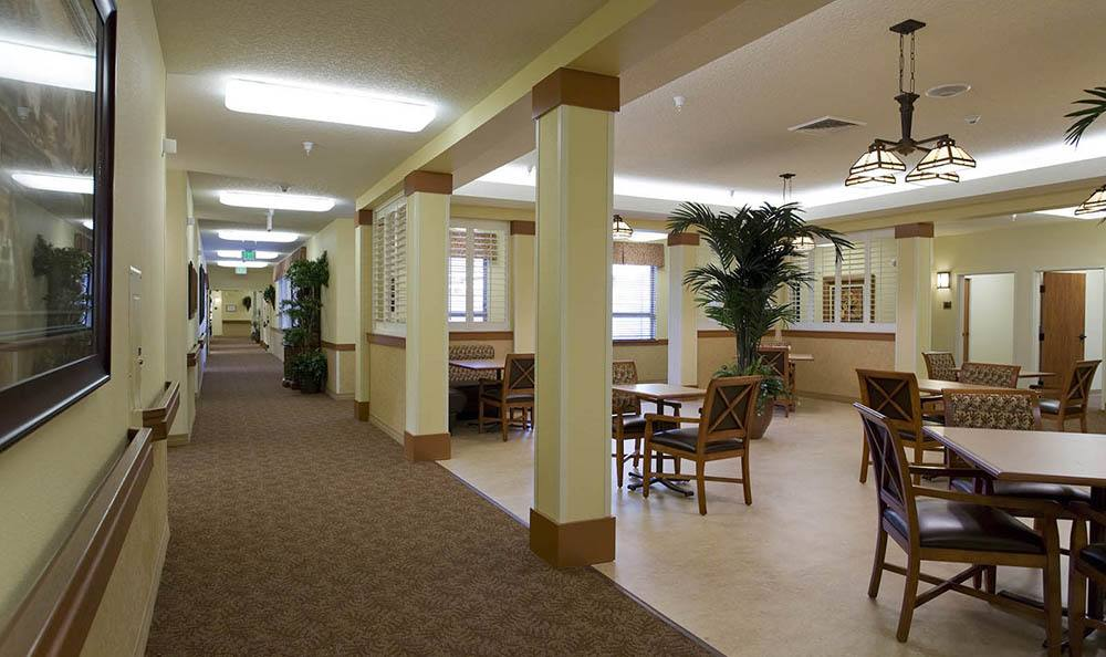 Dining area at McLoughlin Place Senior Living in Oregon City.