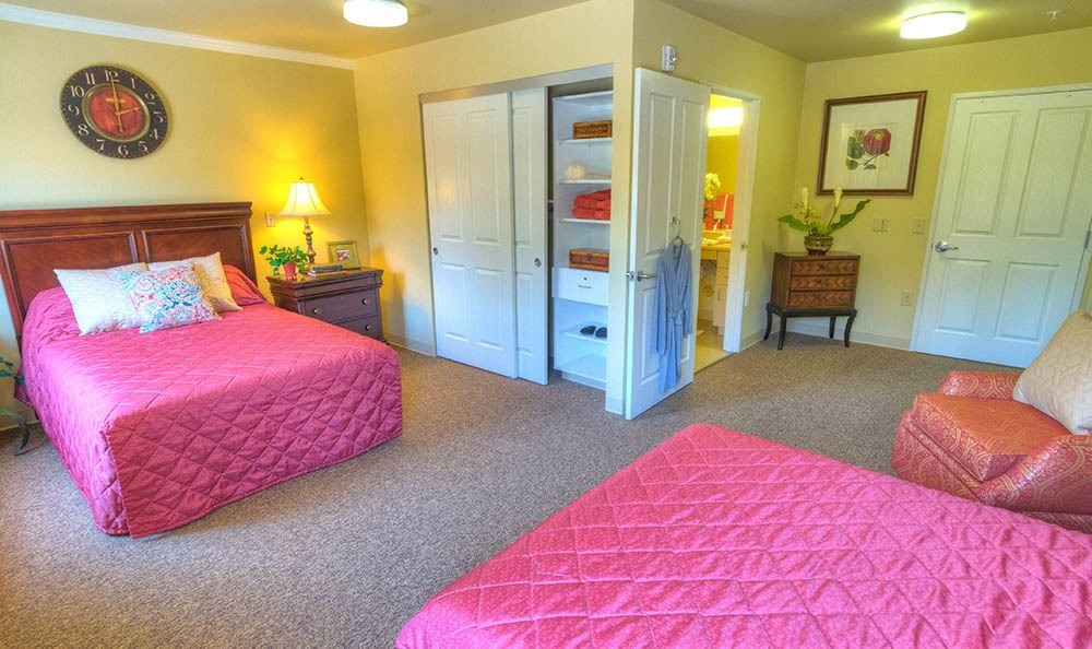 Bedroom and Bathroom at Sierra Ridge Memory Care in Auburn