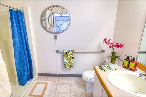Apartment bathroom at Skyline Place Senior Living in Sonora