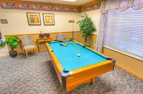 Game room at Skyline Place Senior Living in Sonora