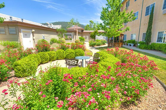 Courtyard of Skyline Place Senior Living in Sonora