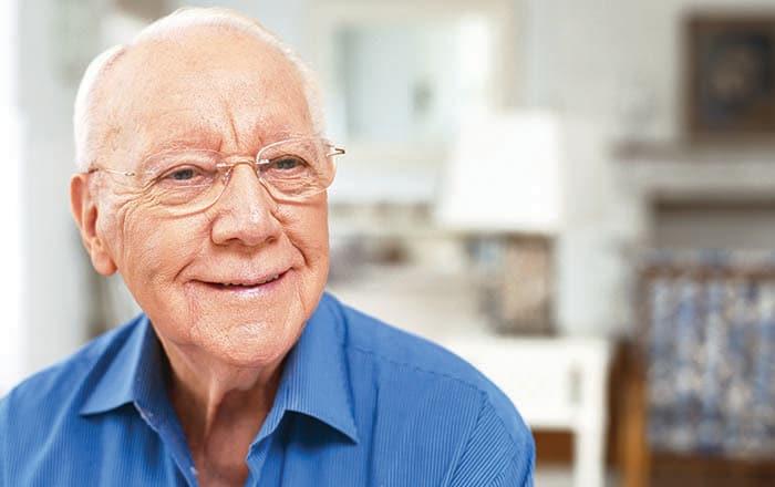 Gentleman enjoying White Cliffs Senior Living assisted living