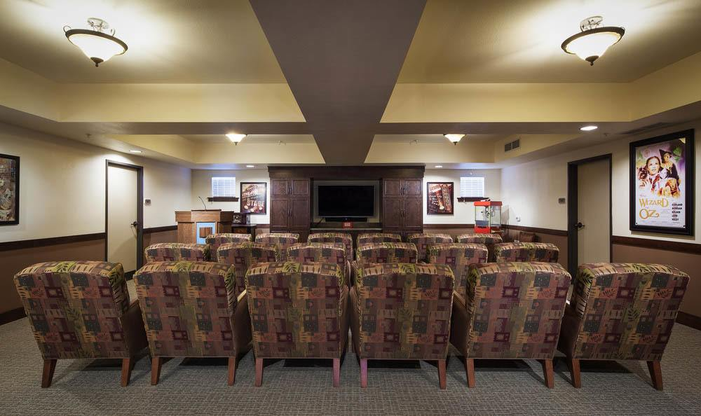 Community Movie Theater At White Cliffs Senior Living.