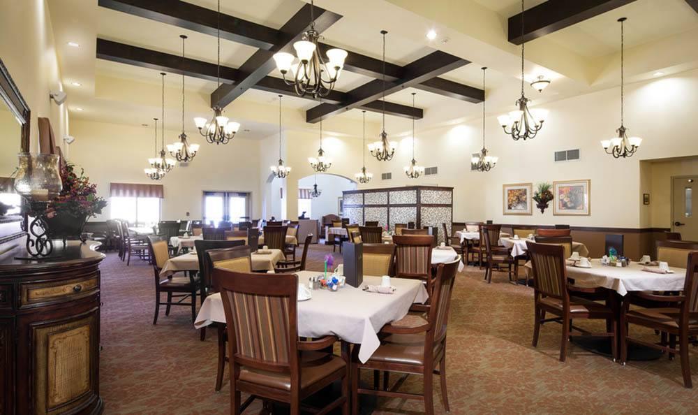 Large Dining Room At White Cliffs Senior Living.