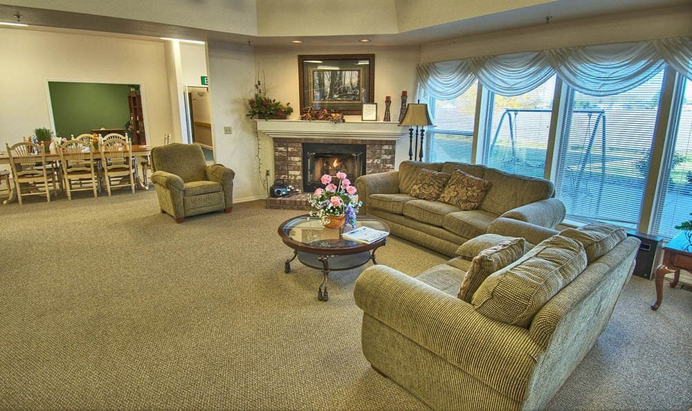 Large Seating with Fireplace At Highland Estates