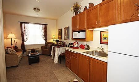 Kitchen in Apartment at The Meadows - Assisted Living