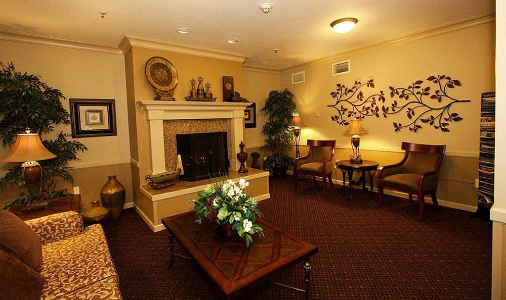 Fireside Sitting Room At The Meadows - Assisted Living