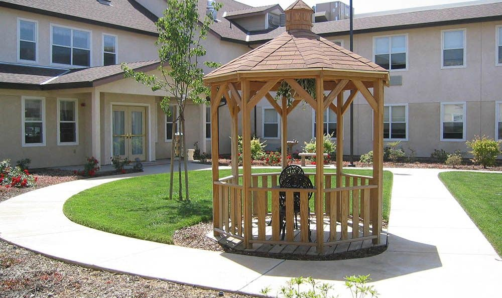 Courtyard Gazebo at The Meadows - Assisted Living in Elk Grove.