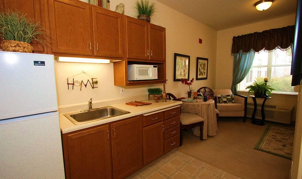 The Meadows - Assisted Living Studio Kitchen in Elk Grove.