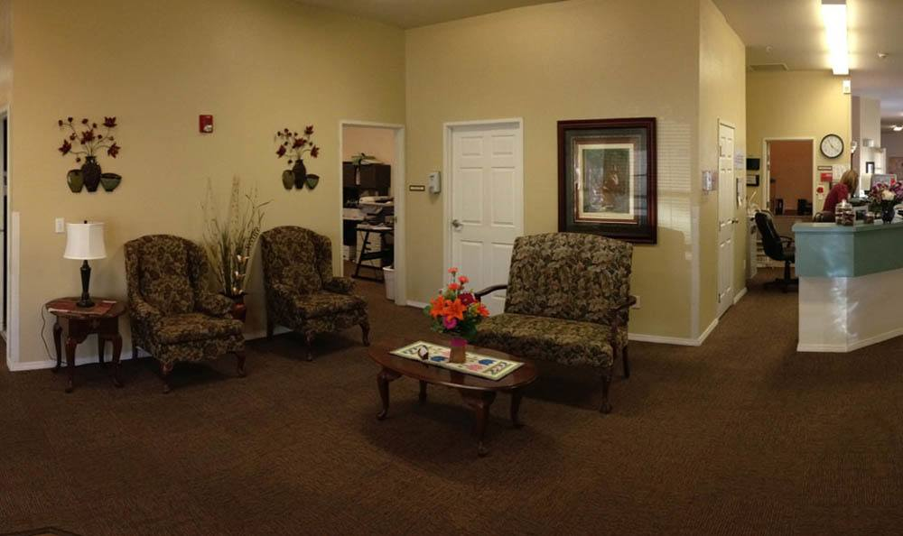 Large Lobby and Reception At The Willows Retirement & Assisted Living.