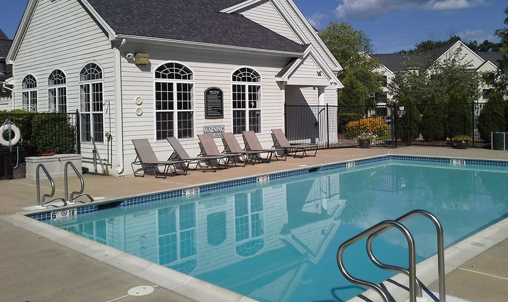 View of the pool and cabana at our community in Bedford, Heritage on the Merrimack.