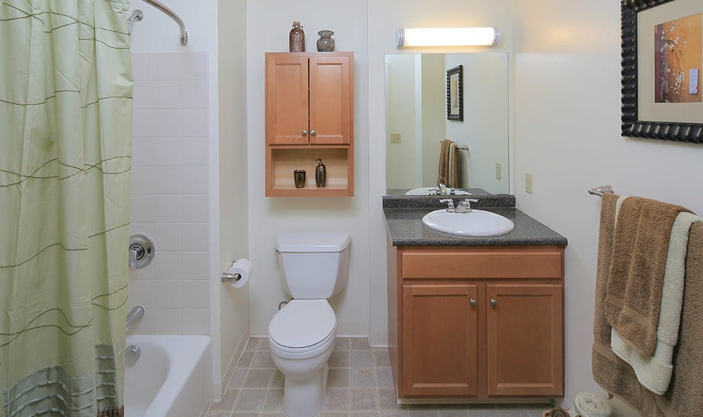 Guest bathroom in one of our apartment homes at Kimball Towers at Burlington.