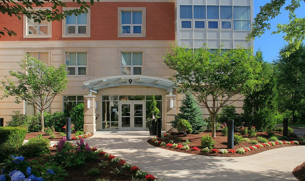 Front entrance to our luxury apartments at Kimball Towers at Burlington.