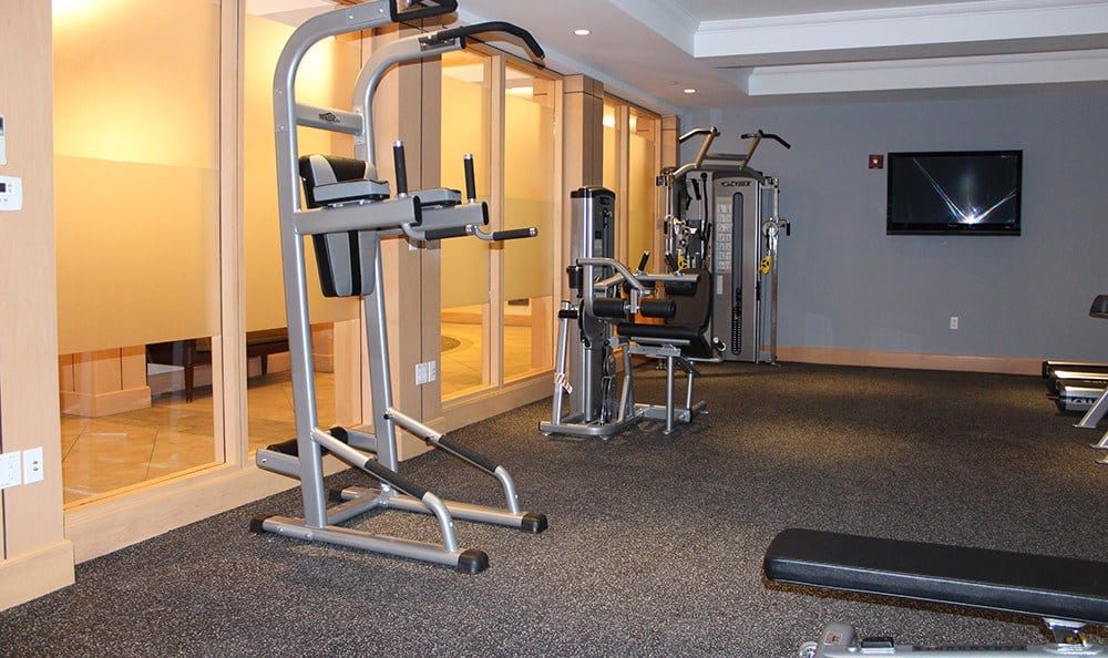 Sweat out the day's stress in our expansive fitness center at Kimball Towers at Burlington.
