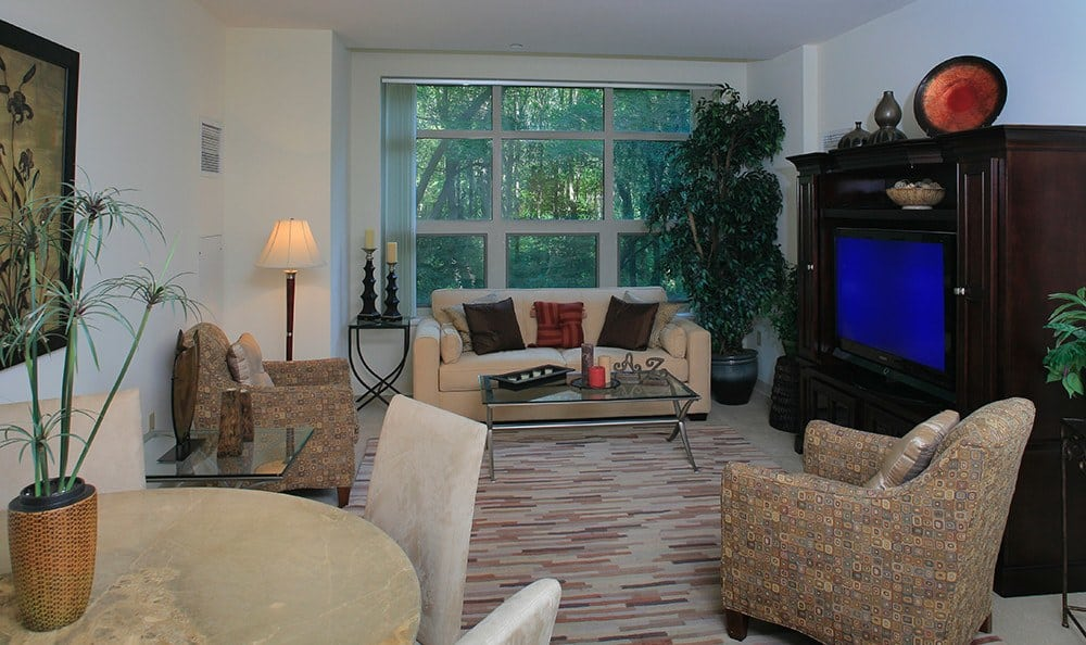 View of the living room in one of our apartment homes at Kimball Towers at Burlington.