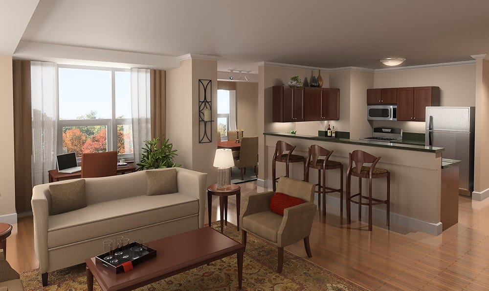 Living rooms like this one exemplify the open-concept living spaces at Kimball Towers at Burlington.