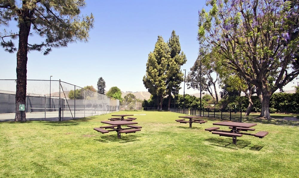 Picnic Area At Clubhouse At Apartments In Pomona California
