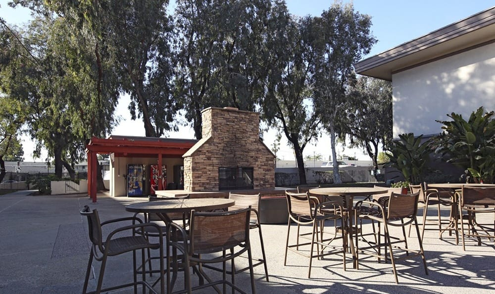 Outdoor Fireplace At Apartments In Garden Grove California