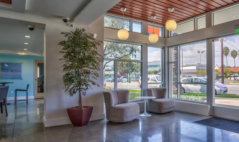 The lobby in the leasing office of Alvista Long Beach