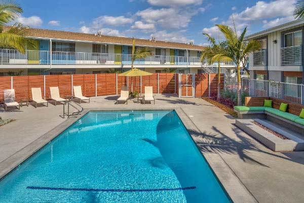 Enjoy the resort-style pool at our apartments in Long Beach, CA