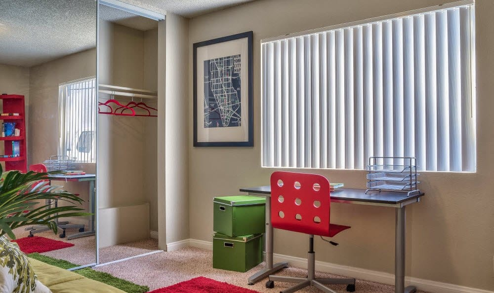 This second bedroom functions as a great office if needed at Alvista Long Beach