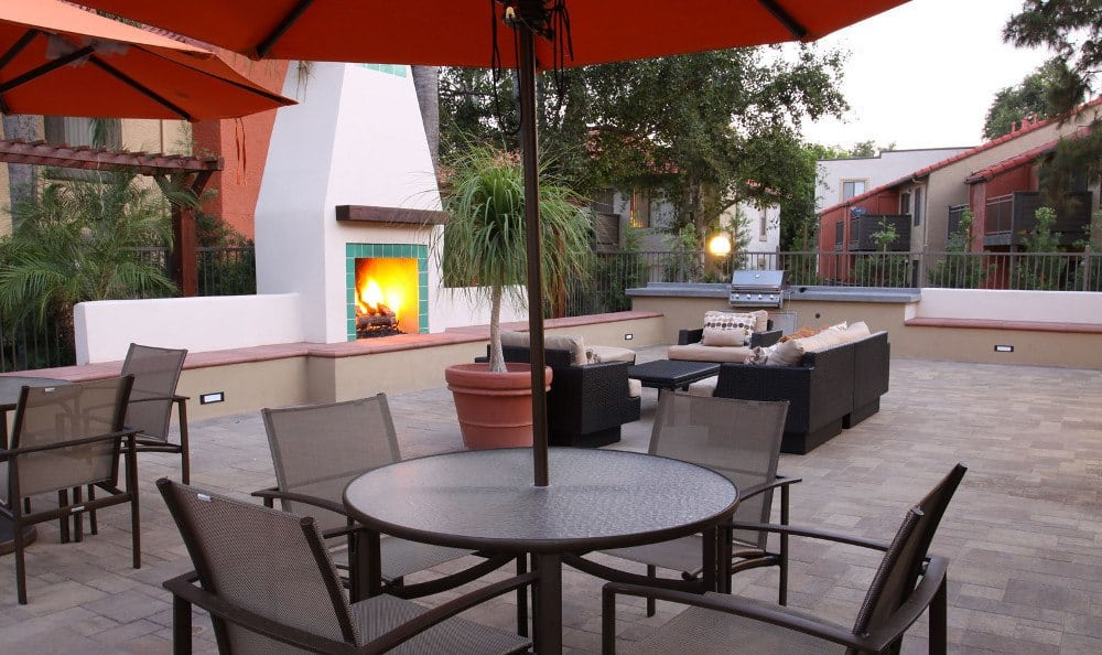 The outdoor fireplace at Alvista Terrace