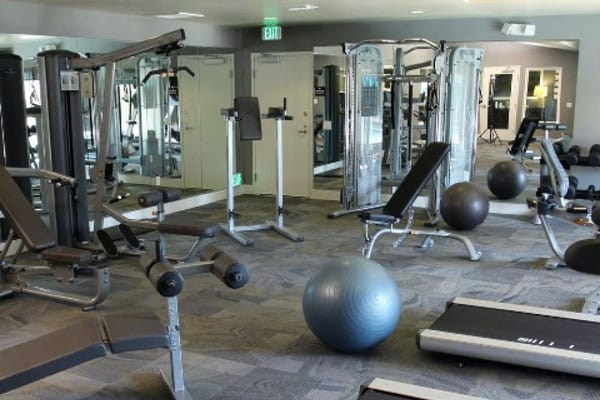 The fitness center at Alvista Portofino