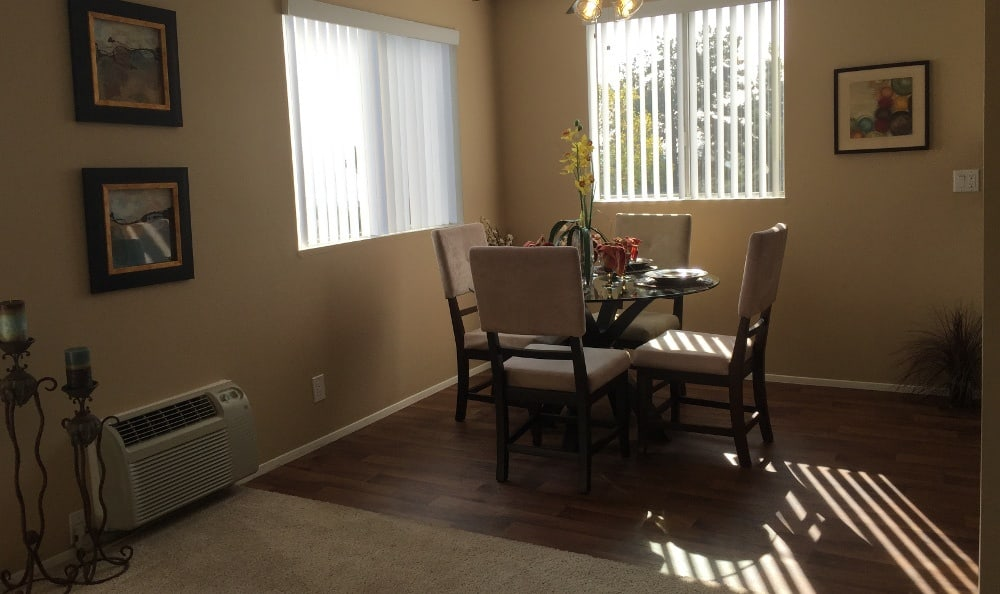 A view of the dining room in the apartments at Alvista on Baltimore