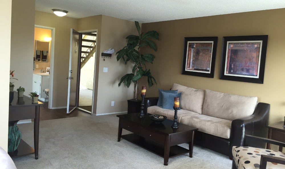 The living rooms in the apartments for rent at Alvista on Baltimore are very spacious
