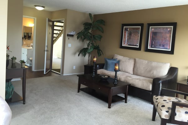 An example living room in the apartments for rent in La Mesa, CA