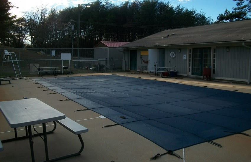 The swimming pool gets covered at night here at Highland Square so it's clean for the next day's use!