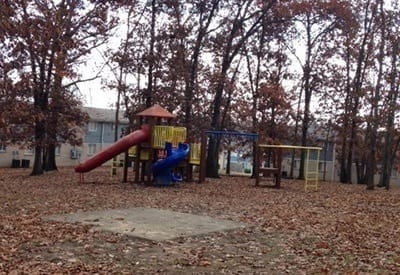 On-site playground here at Charter Village Apartments