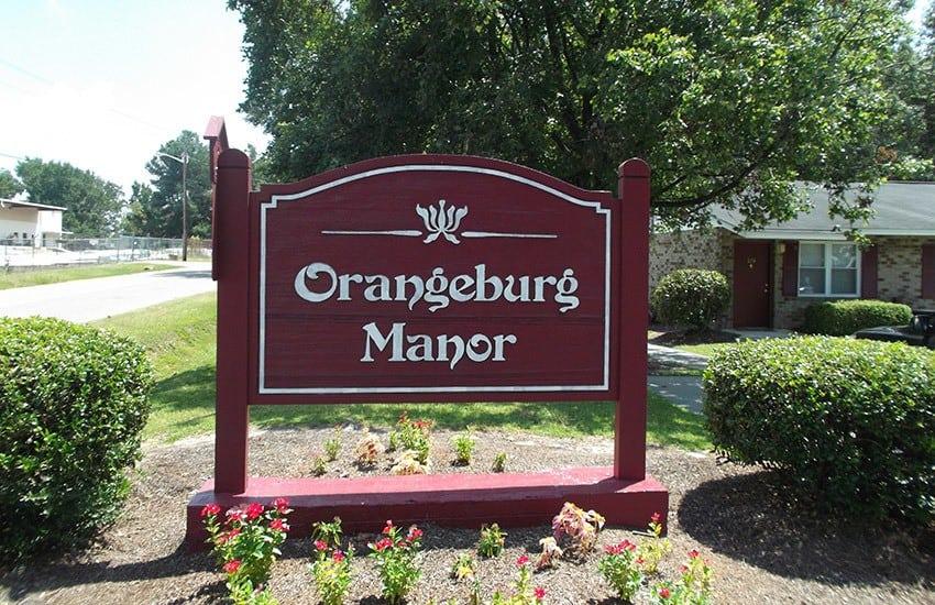 Welcomes sign at Orangeburg Manor in Orangeburg