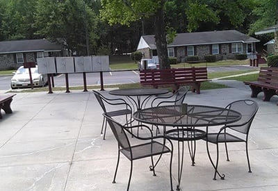 Outside common areas at Orangeburg Manor in Orangeburg for you to relax