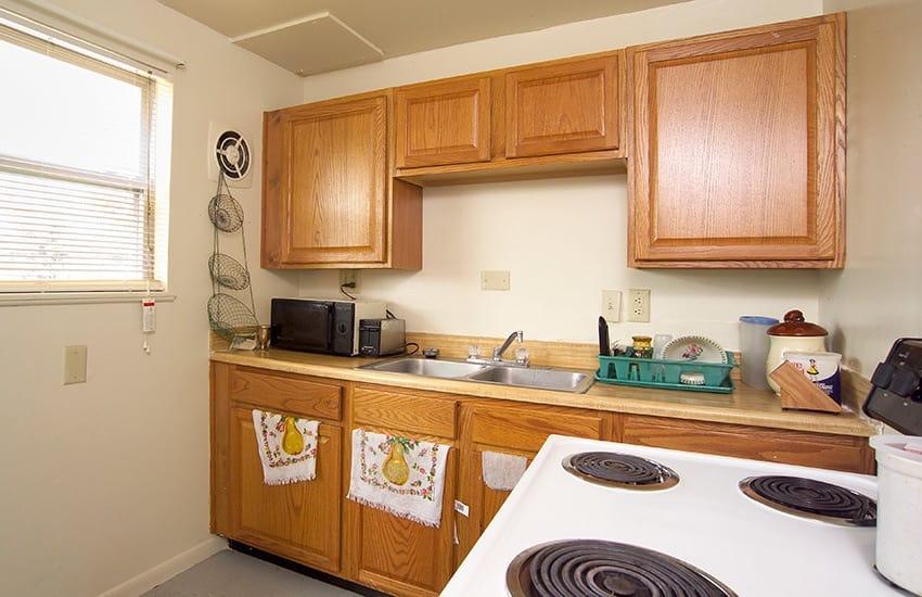 Kitchen at Bancroft Apartments in Dayton, OH.