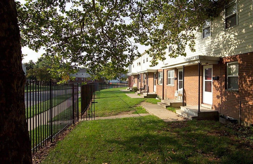 Beautiful trees line the streets at Bancroft Apartments in Dayton.