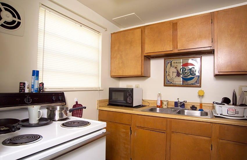 Kitchens at Bancroft Apartments have modern, energy-efficient appliances.