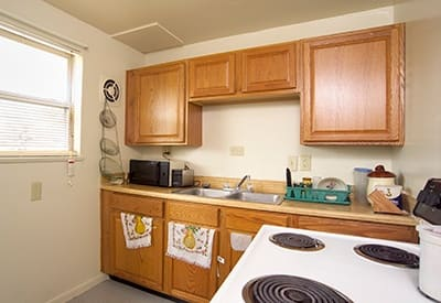 The kitchens at Bancroft Apartments are modern and have the conveniences you need.