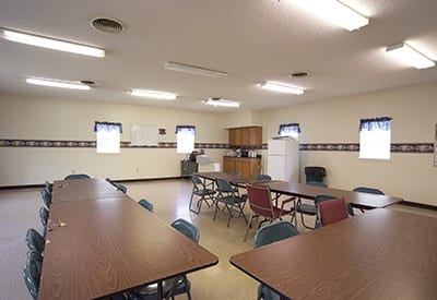 The community room at Bancroft Apartments is a great place to meet your friends and neighbors.