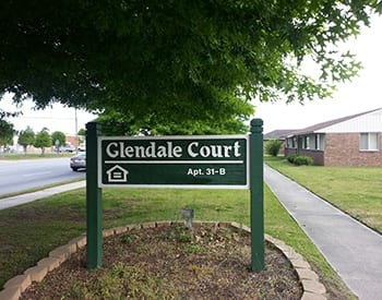 Our sign welcomes residents and their guests to Glendale Court Apartments in Greenville, NC.