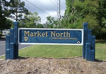 Our sign welcomes residents and their guests at Market North Apartments in Wilmington.