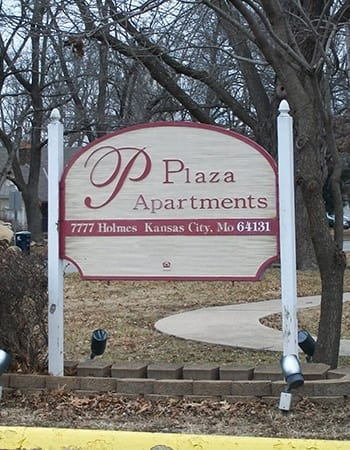 Our sign welcomes residents and their guests at Plaza I & II Apartments in Kansas City.