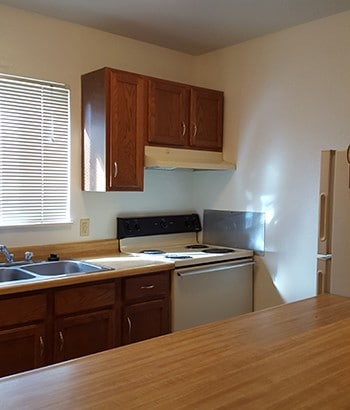 Kitchen at Whitney Young Manor in Colorado Springs with appliances