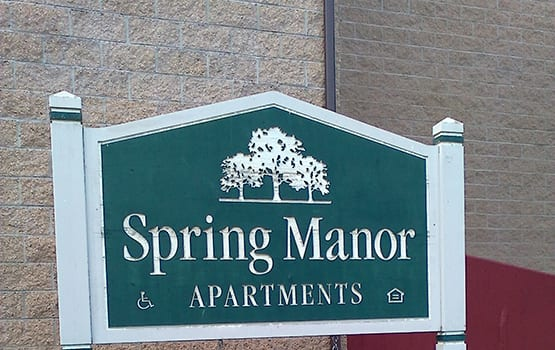 Our sign at Spring Manor in Hollidaysburg welcomes residents and their guests.