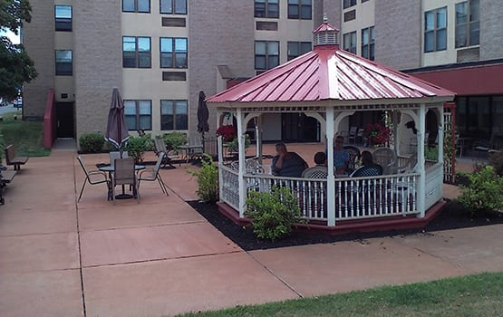When the weather is hot, find shade under our gazebo in the courtyard at Spring Manor in Hollidaysburg.