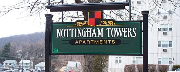There are plenty of comfortable common areas at Nottingham Tower Apartments in Waterbury.